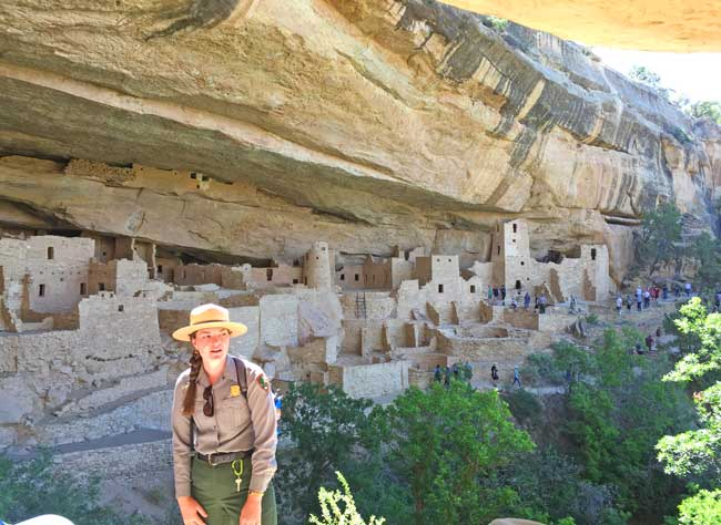 A park service guide discusses the life of the Ancient Publoans in Cliff Palace at Mesa Verde National Park. Photo by Janna Graber