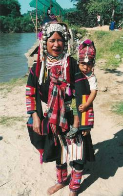 Ahka woman with her baby in Thailand